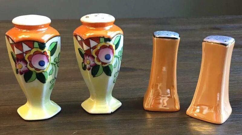 Vintage LUSTREWARE Floral & Basic Design Salt & Pepper Shaker Sets (2) - Japan