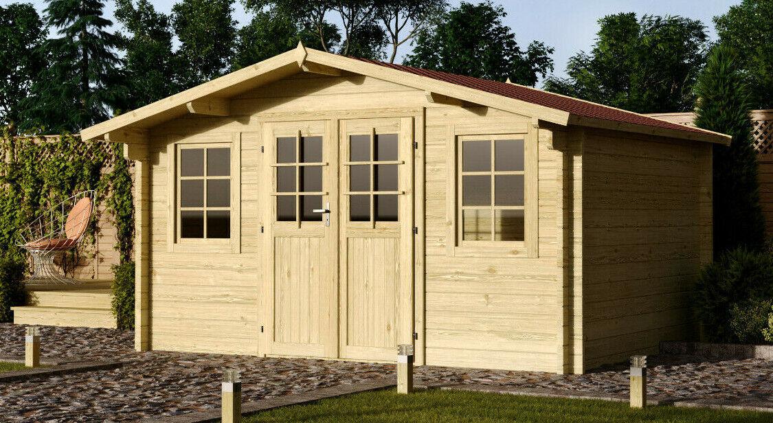 34 mm Gartenhaus 500x400 cm Holzhaus Hütte Holz Gerätehaus Blockhaus Schuppen