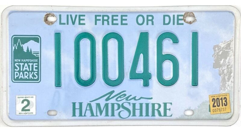 2013 New Hampshire STATE PARKS License Plate #100461
