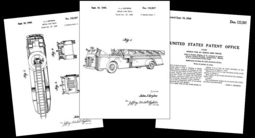 1939 Fire Truck PATENT Drawing Design Specs, Art PRINT Engine Ladder Firefighter