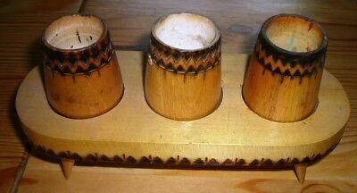 Holzbehälter mit 3 Töpfchen geschnitzt Siebenbürgen Folklore Rarität 19x7,5x9 cm