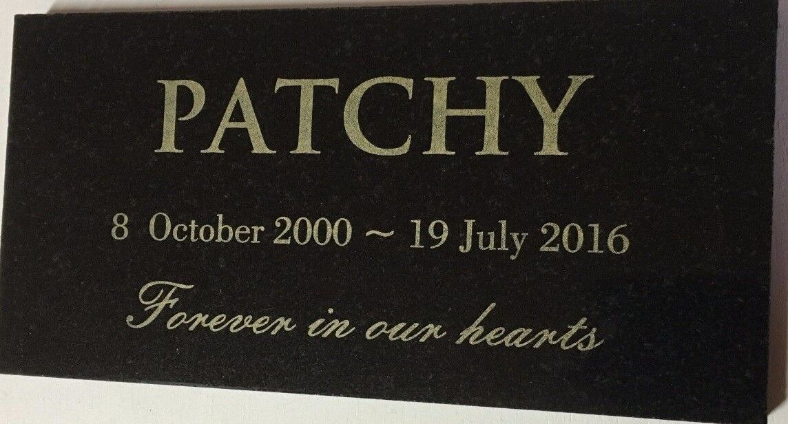 Details about Dog Memorial Black Granite Laser Engraved on Wrought Iron  Stand 150 x 100 mm