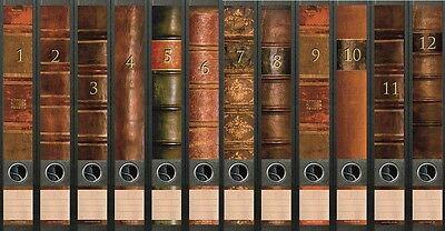 12 Ordnerrücken Bücher Lexikon Ordner Ordneraufkleber Aufkleber Deko 609 / 610