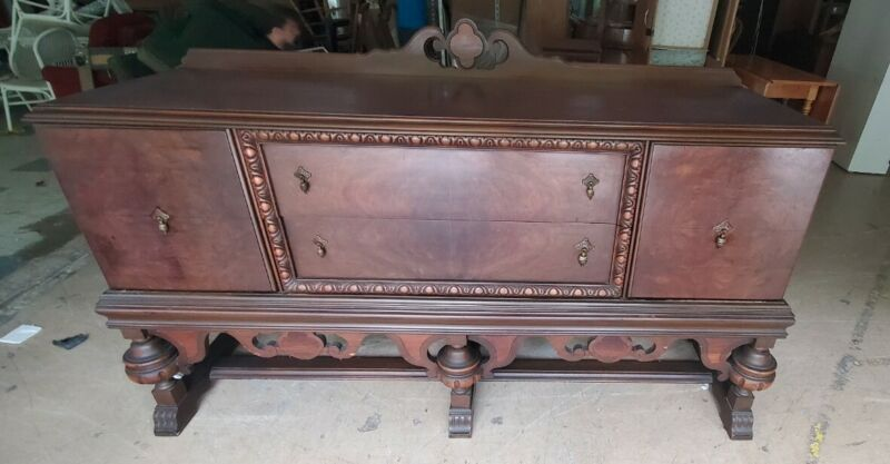 Antique Ornate Jacobean Style Buffet Sideboard