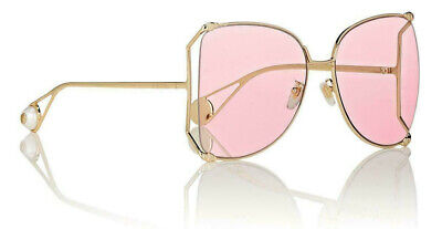 GUCCI GG0252s Pink Gold Metal Oversize Round-Frame Unisex Sunglasses (004) (Gucci Butterfly Sunglasses)