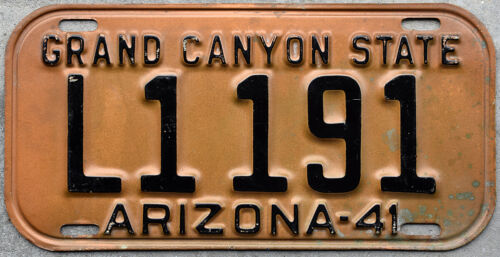 1941 Arizona License Plate, Grand Canyon State slogan