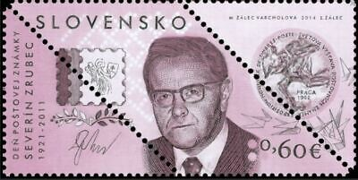 Slovakia 2014 Severín Zrubec Literature Author odd Shaped Stamp
