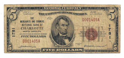 $5 National Bank Note Ch#1781 Merchants & Farmers Bank of Charlotte, NC Type-1