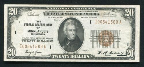 FR. 1870-I 1929 $20 FRBN FEDERAL RESERVE BANK NOTE MINNEAPOLIS, MN ABOUT UNC
