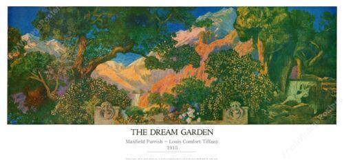 1915 Maxfield Parrish The Dream Garden Tiffany glass new fine art print 11x24