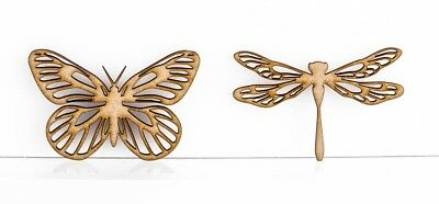 Intricate Design Butterfy Dragonfly Craft Shapes Embellishments 3mm MDF Wood