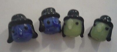 Blue Green Faced Witches Halloween Lampwork Glass Beads 8 ](Lampwork Beads Halloween)