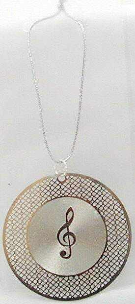 """G-Clef w/Record laser cut & engrave hanging ornament 1.75"""" (Silver)"""