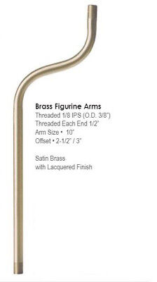 """NEW SOLID BRASS 10"""" FIGURINE LAMP PIPE ARM SATIN & LACQUERED FINISH"""