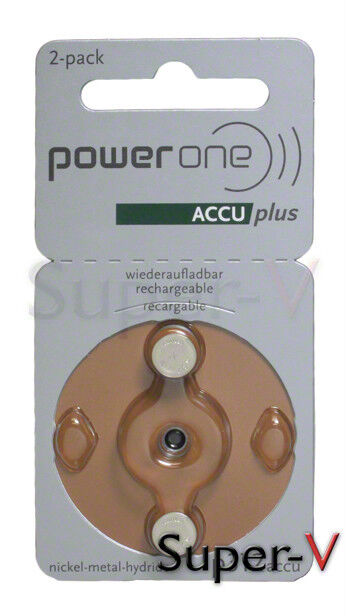 Power One Accu Plus Rechargeable Hearing Aid Batteries Si...