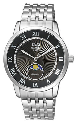 Qq  129 Mens Moon Phase Silver Steel  Black Dial  Dome Crystal Watch