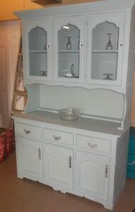 chalk painted, distressed, waxed, wood hutch, with crystal knobs London Ontario image 3