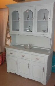 chalk painted, distressed, waxed, wood hutch, with crystal knobs London Ontario image 1