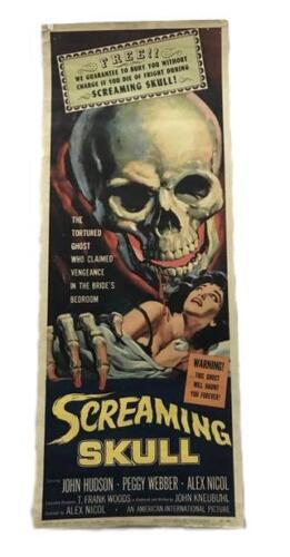 """Screaming Skull"" 1958 Original Movie Poster First Issue 36x14 Hudson Webber"