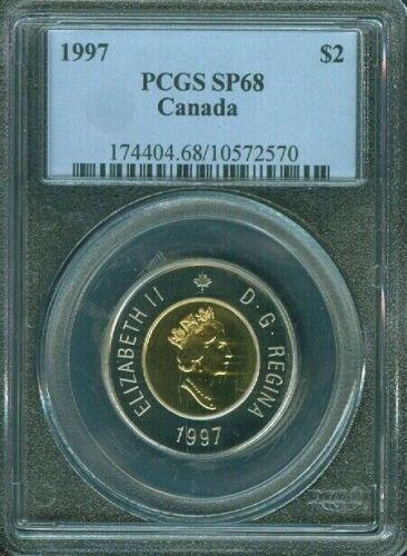 1997 CANADA 2 DOLLARS PCGS SP68 COIN IN HIGH GRADE ONLY 7 GRADED HIGHER