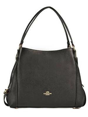 Coach 57125 Edie Polished Pebbled Leather Shoulder Bag 31~Black/Gold NWT $350.00 Gold Pebbled Leather