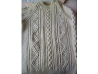 Hand-knitted Aran jumper with matching pull-on hat 100% wool natural colour