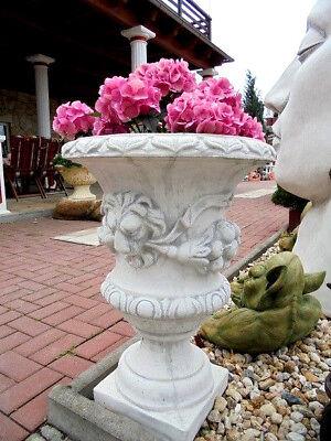 Pflanzschalen, Vase, Amphore, Löwenkopfdesign, Steinguss, Löwen 70 cm Gartendeko