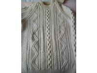Hand-knitted Aran jumper with matching pull-on hat, 100% wool, natural colour