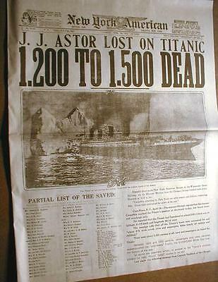 1912 newspaper TITANIC SINKS w Best Headline & photo !!