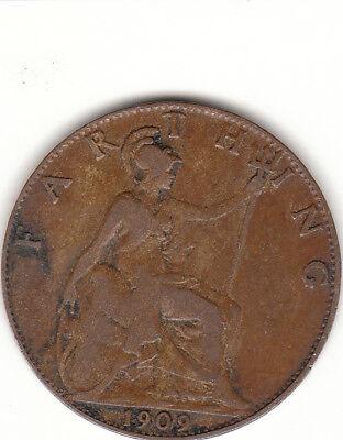 1909 Edwardvs Vll FARTHING COIN GREAT BRITAIN.