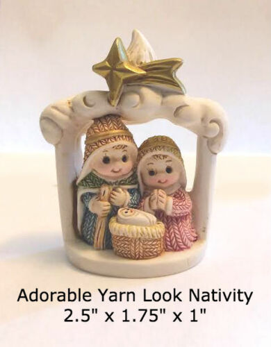 """Small Nativity Yarn Look Figures 2.5"""" x 1.75"""", Durable Resin, Great for Kids too"""