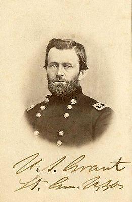 Ulysses S Grant Signed PHOTO Repro Cabinet Card Civil War General Carte-de-Visit