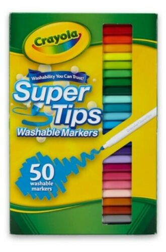 Crayola Super Tips Washable Markers 50 Colors Set (NIB) SAME-DAY FREE SHIP