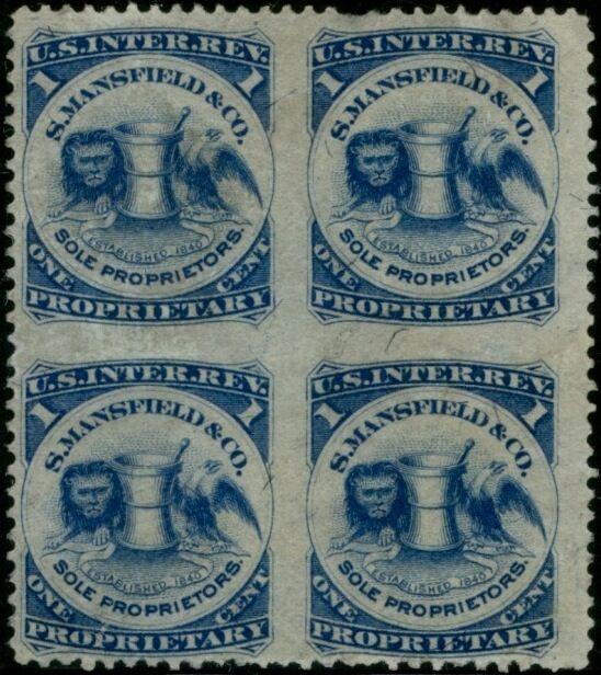 "#rs174bj ""s.mansfield & Co."" Blk/4 Imperf Between Cv $500.00 Bp6925"