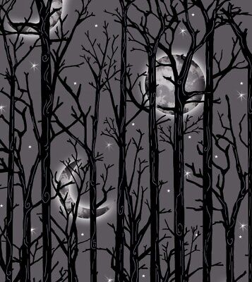Halloween Fabric - Fright Night Moon and Tree Stripe Gray - Henry Glass 30