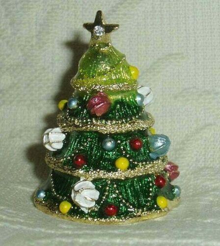Russian Сollectible Handpainted Decorative Enamel Thimble Christmas tree