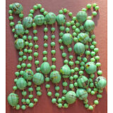 "52"" Vintage green glass lampwork necklace w/ 9mm grooved + 4mm beads"