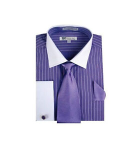 Purple stripe dress shirt ebay for Purple striped dress shirt