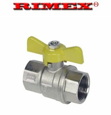 "Gas Ball Valve - 3/4"" F x F Yellow Butterfly Handle"