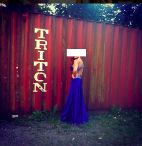 Beautiful Floor Length Royal Blue Gown - Prom Dress or Pageant