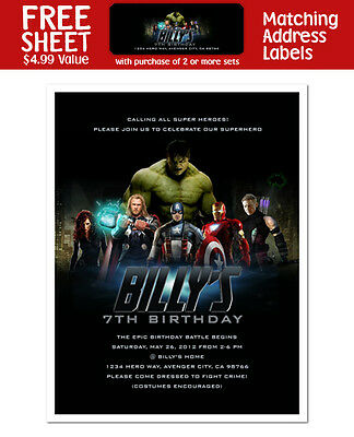 8 Avengers Superhero Birthday Party Personalized Invitations](Superhero Party Invitations)