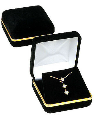 Black Velvet Gold Trim Pendant Jewelry Gift Box 2 58 X 2 58 X 1 38h