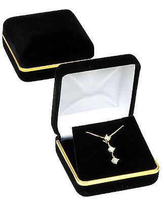 Black Velvet Gold Trim Pendant Jewelry Gift Box 2 58 X 2 58 X 1 38h