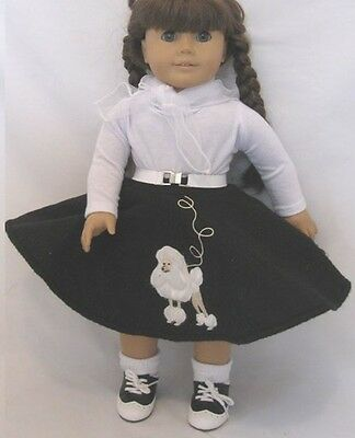 "Lovvbugg Black Poodle Skirt Set for 18"" American Girl Doll Clothes"