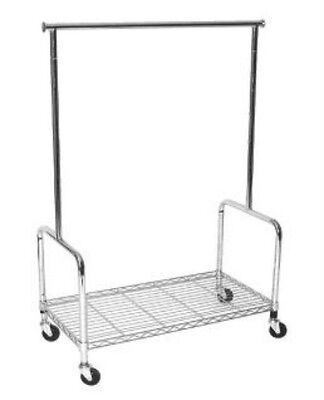 Adjustable Height Commercial Rolling Clothing Garment Display Rack W Shelf