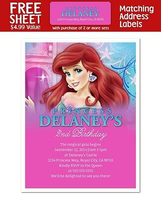 8 The Little Mermaid Ariel Princess Birthday Party Personalized Invitations (Ariel Invitations)