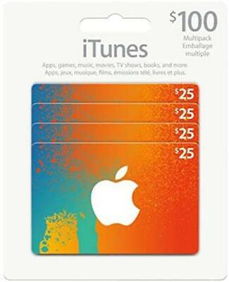 Canadian Apple iTunes Gift Card ($100) Canadian Dollar [CAD, Sealed, 4x$25] NEW for sale  Shipping to Nigeria