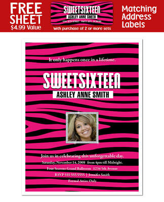 8 Sweet Sixteen 16 (all ages) Birthday Party Personalized Pink Zebra - Personalized Sweet 16 Invitations