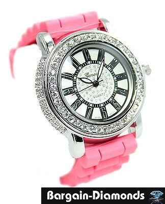 ladies designer-style pink party fashion dress watch CZ ice out hip hop teen