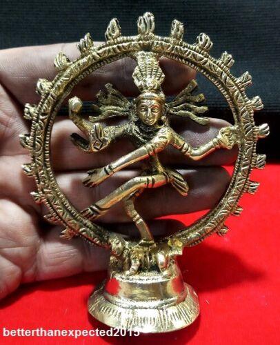 4 Inchs Hindu Deity Dancing Shiva Natraj Cosmic Energy Sculpture Solid Brass Art